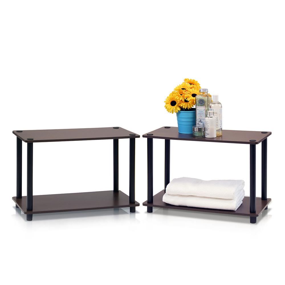 Turn-N-Tube Dark Brown End Table with Shelf (2-Pack)