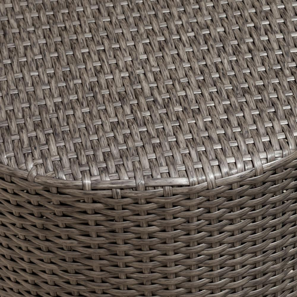 Incredible Noble House Jalen Grey Round Barrel Wicker Outdoor Side Table Pabps2019 Chair Design Images Pabps2019Com