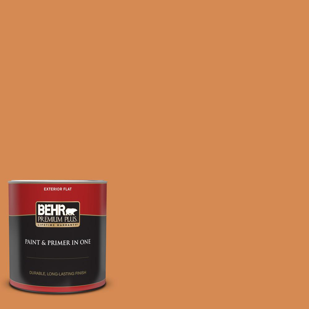 Behr Premium Plus 1 Qt 260d 5 Amber Wave Flat Exterior Paint And Primer In One 430004 The Home Depot