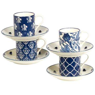 4 oz. 4-Piece Blue Indigo Espresso Cup and Saucer Set
