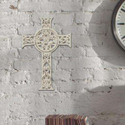 8 in. x 12 in. Worn White Cast Iron Hanging Cross