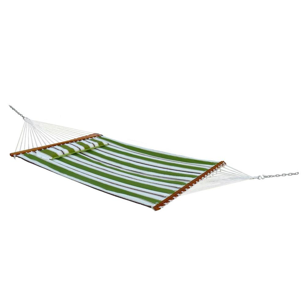 Santorini 13 ft. Premium Cotton Reversible Double Hammock in Green Stripe