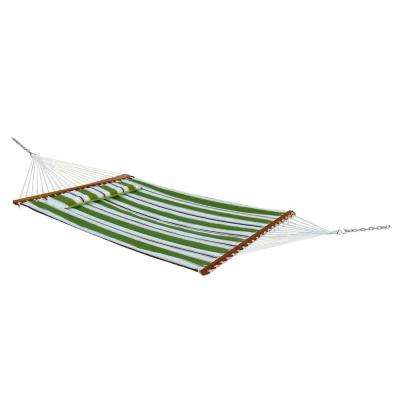 Santorini 13 ft. Premium Cotton Reversible Double Hammock in Green Stripe or Solid Green