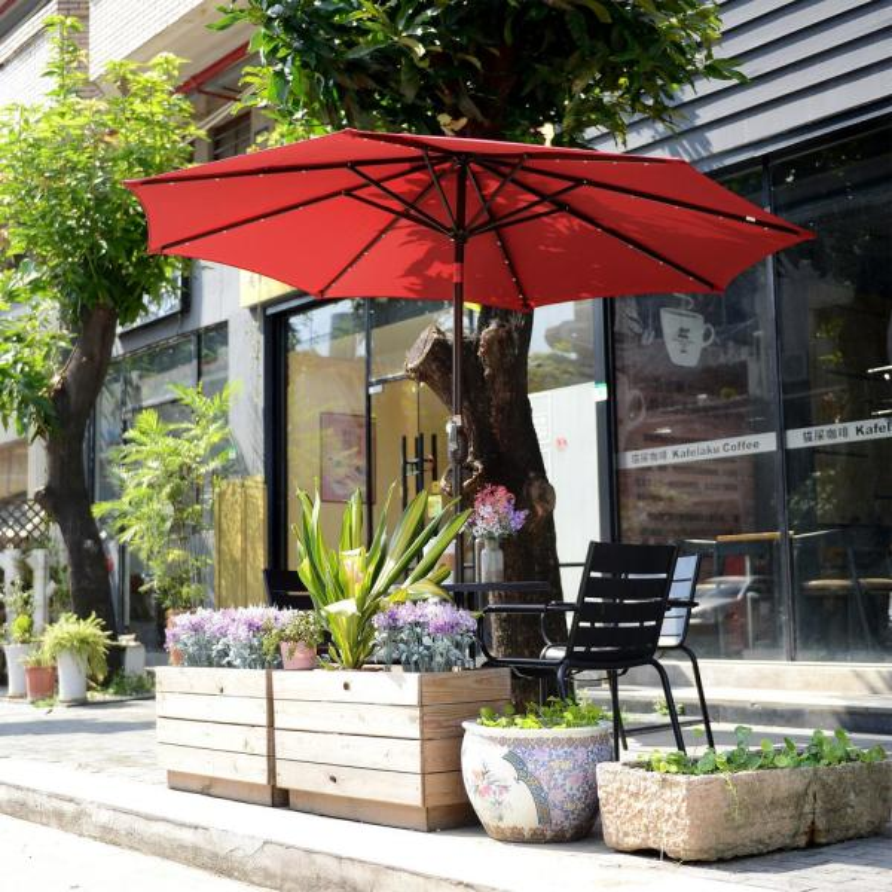 9 FT Patio Waterproof Solar Umbrella LED Light Tilt Red
