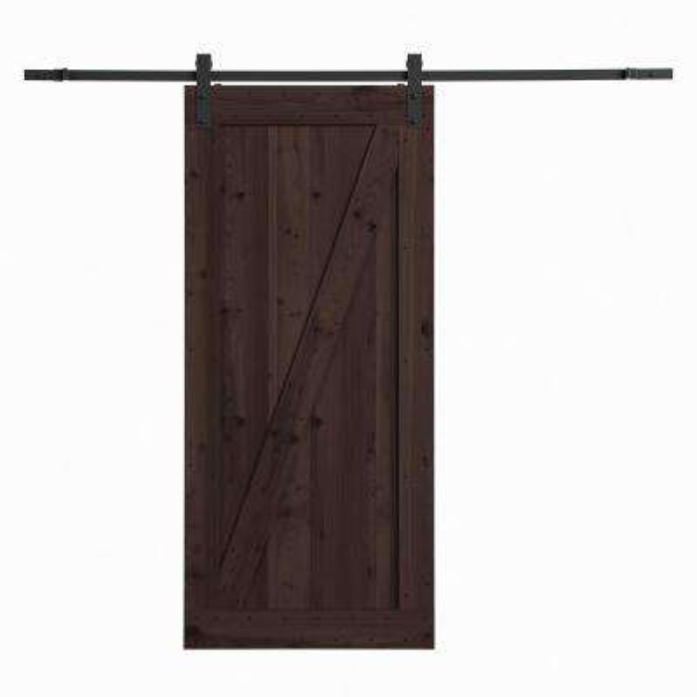 36 in. x 84 in. Canadian Hemlock Distressed Smoke Barn Door with Sliding Door Hardware Kit