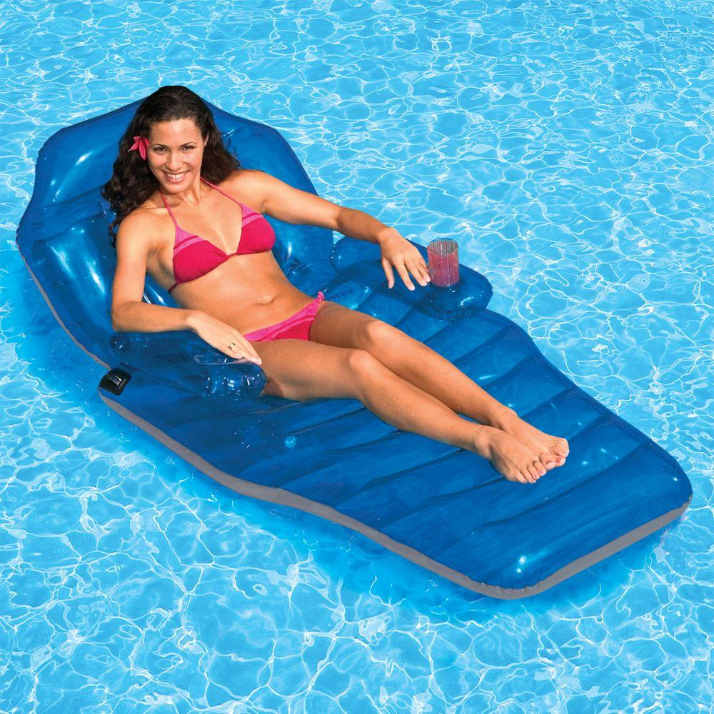Adjustable Chaise Pool Float Recliner Fun Inflatable Lounge Chair Cup  Holder NEW | EBay
