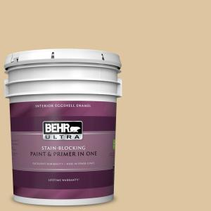 5 gal. #320E-3 Riviera Sand Eggshell Enamel Interior Paint and Primer in One