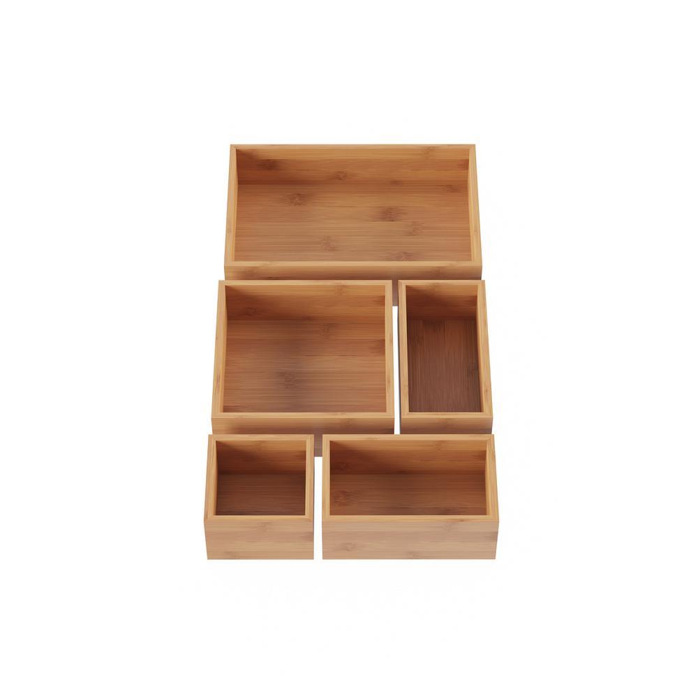 Lavish Home 5-Compartment Bamboo Drawer Organizer