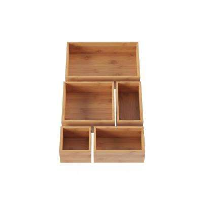 5-Compartment Bamboo Drawer Organizer
