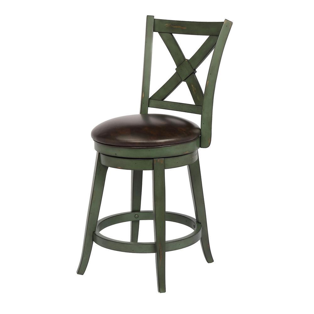 Green counter height swivel bar stool individual
