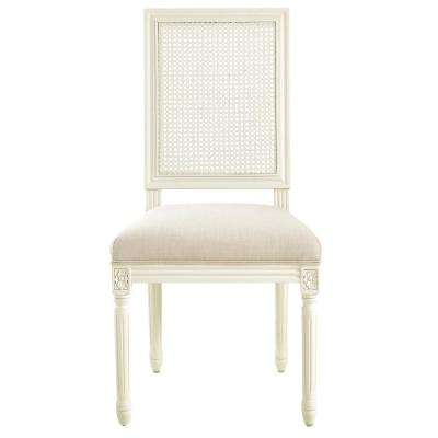 Jacques Cane Antique Ivory Square Back Dining Side Chairs (Set of 2)