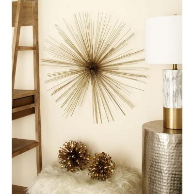 32 in. Modern Gold Iron Wire Burst-Style Wall Decor