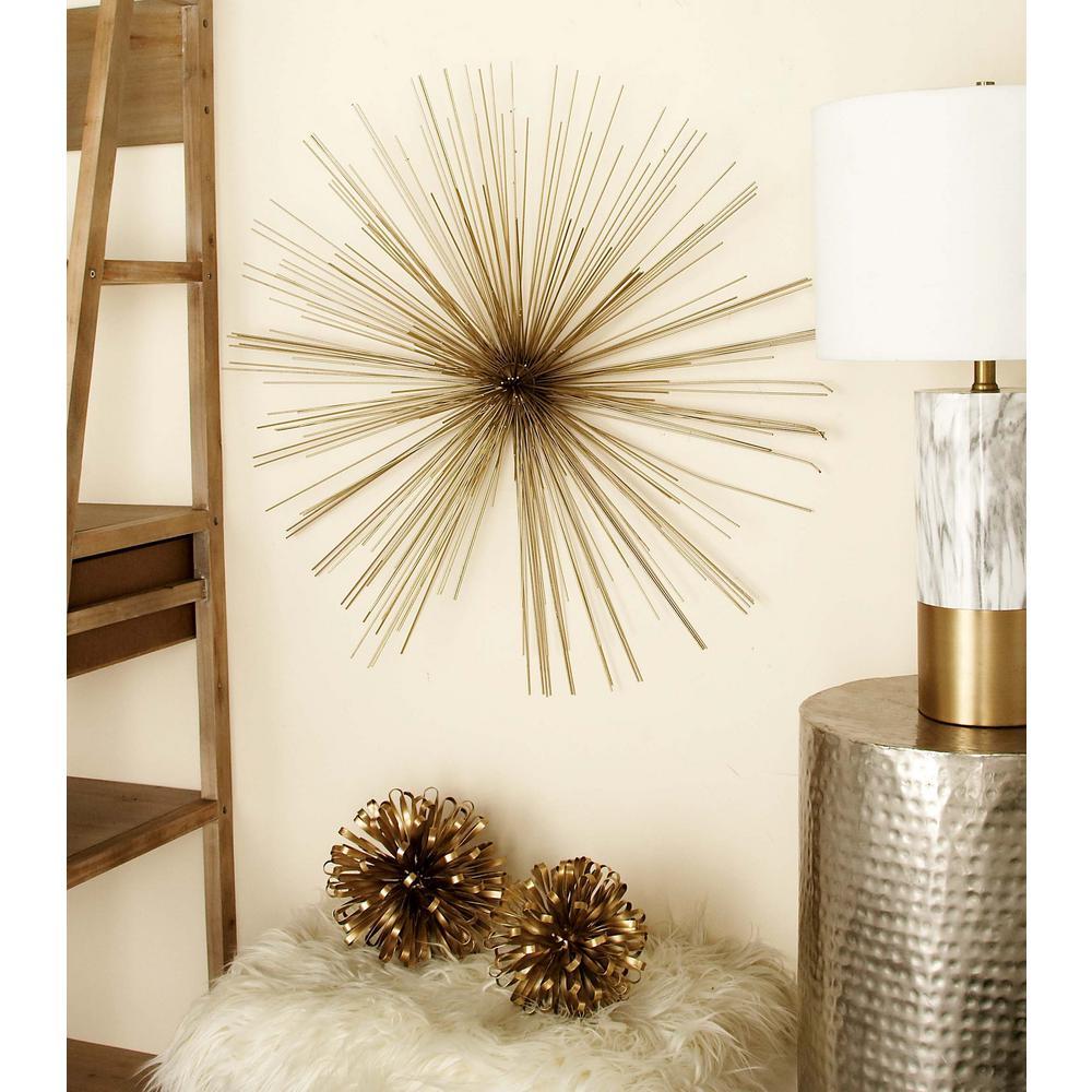 Gold Iron Wire Burst Style Wall Decor