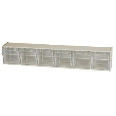 TiltView Cabinet 6-Compartment 15 lb. Capacity Small Parts Organizer Storage Bins in Tan/Clear