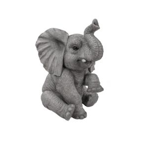 Hi Line Gift Elephant Baby Sitting With Trunk Up