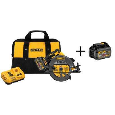 FLEXVOLT 60-Volt MAX Lithium-Ion Cordless Brushless 7-1/4 in. Circular Saw w/ Battery 2Ah, Charger and Bonus Battery 2Ah