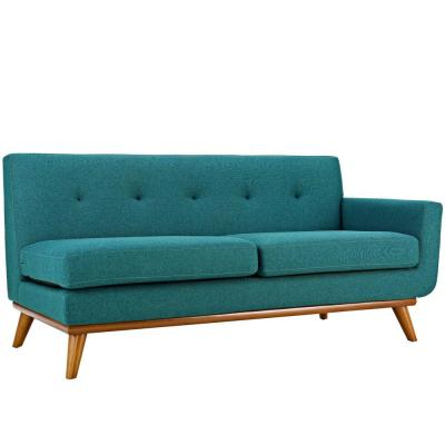 Engage 73 in. Teal Polyester 2-Seater Right-Facing Loveseat with Wood Legs