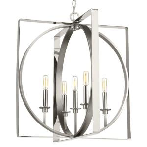 Inman Collection 5-Light Polished Nickel Pendant with Satin Nickel Accents