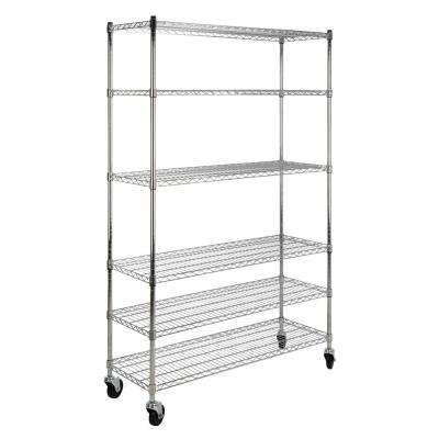 Detroit 76 in. 6-Shelf Rolling Wire Rack, Chrome