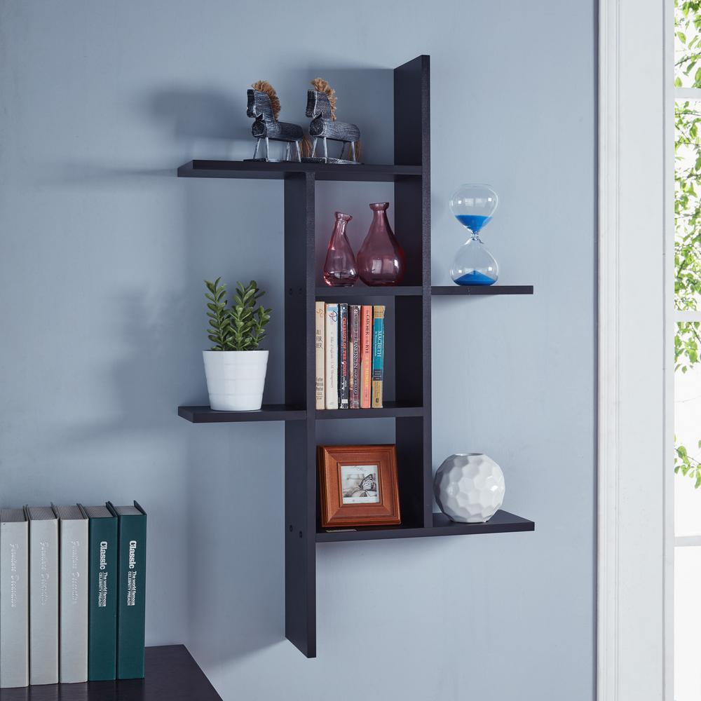 Cantilever Black MDF Floating Wall Shelf