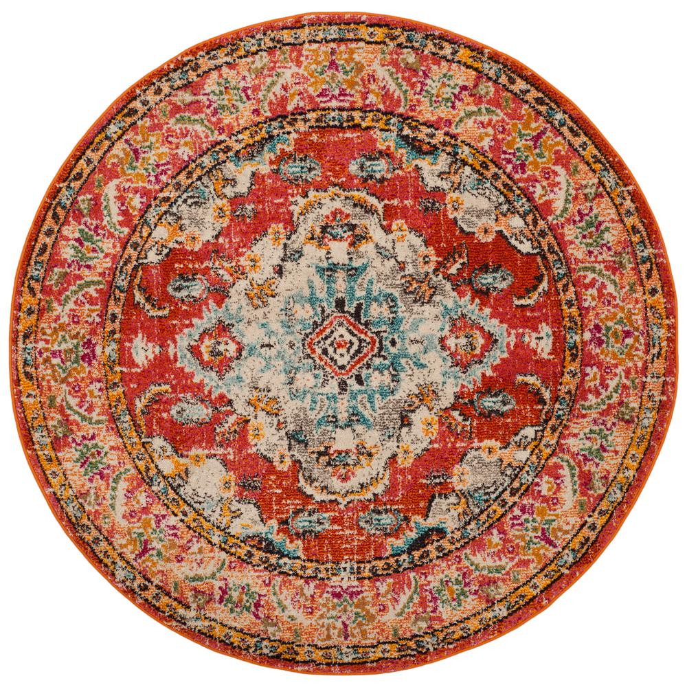 Safavieh Monaco Orange Light Blue 3 Ft X Round Area Rug