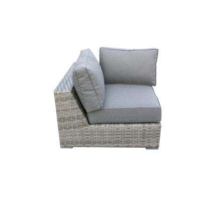 Bali Patio Wicker Corner Outdoor Sectional Chair with Olefin Charcoal Grey Cushion