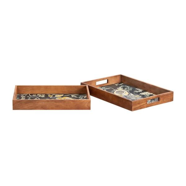 Home Decorators Collection Floral and Wood Decorative Rectangle Tray (Set of 2)