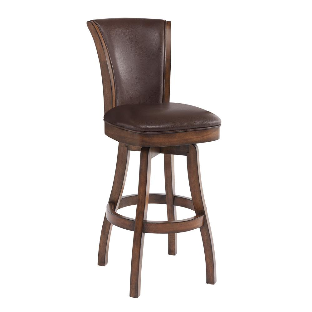 Armen Living Raleigh 26 In. Kahlua Faux Leather And Chestnut Wood Finish  Armless Swivel Barstool