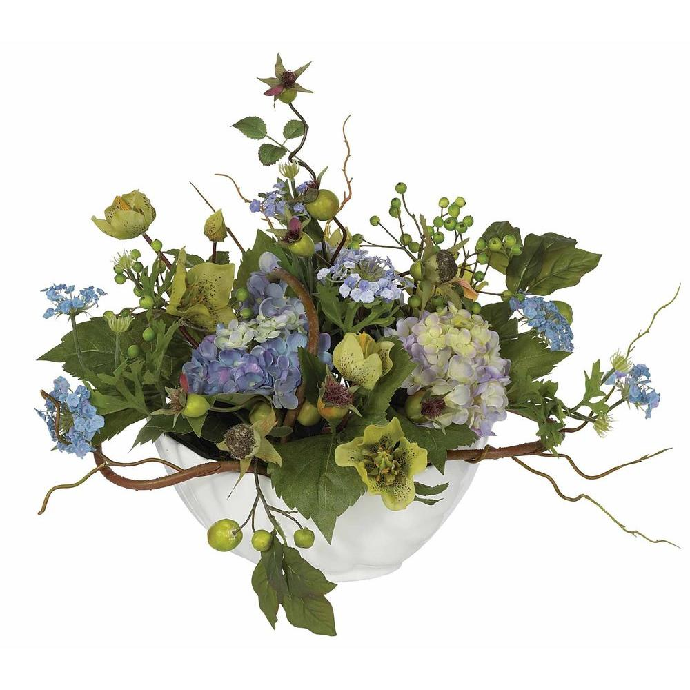 Hydrangea Arrangements: Nearly Natural Hydrangea Centerpiece Silk Flower