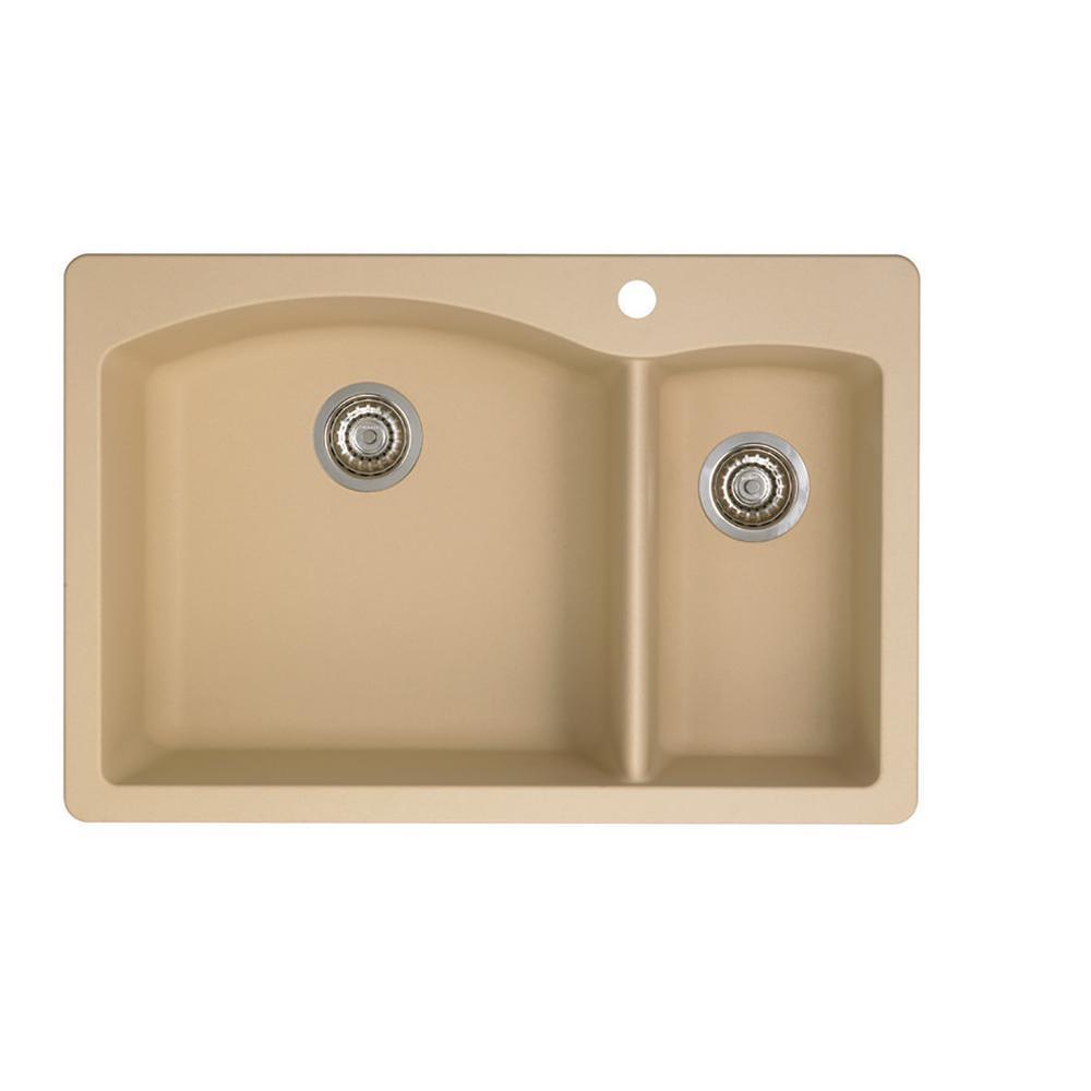 DIAMOND Dual Mount Granite Composite 33 in. 1-Hole 70/30 Double Bowl Kitchen Sink in Biscotti