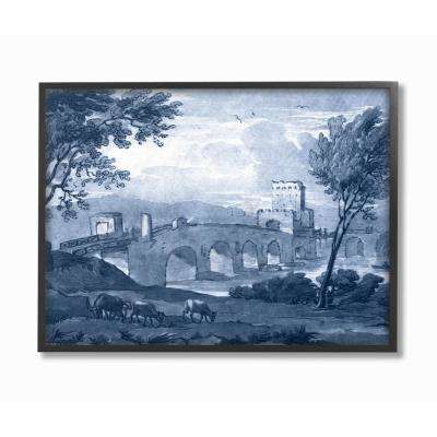 """16 in. x 20 in. """"Antique Architecture Blue Bridge Illustration"""" by Claude Lorrain Printed Framed Wall Art"""