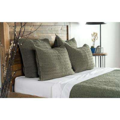 Heirloom Linen Quilted Olive Euro Sham 26x26