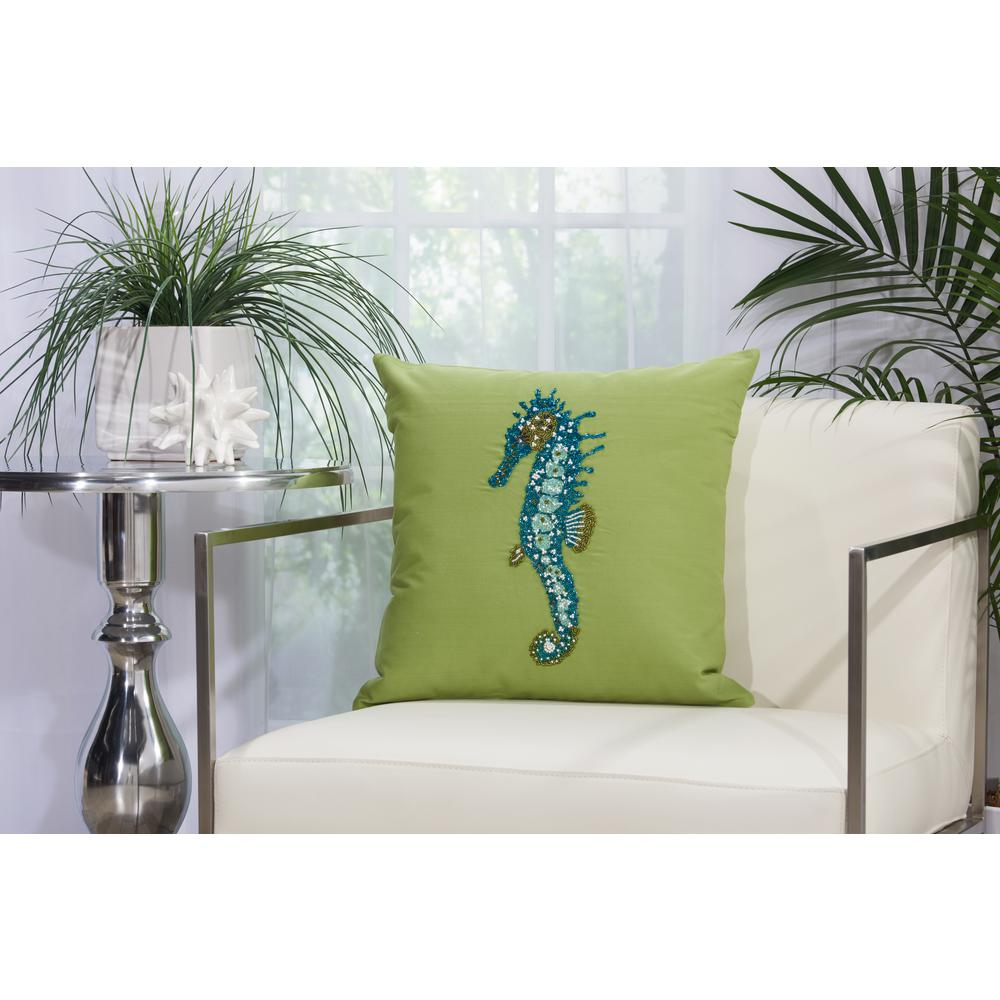 Beaded Seahorse 18 in. x 18 in. Green Indoor and Outdoor