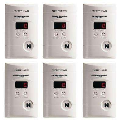 Plug-In CO Alarm with Digital Display and Battery Backup (6-Pack)