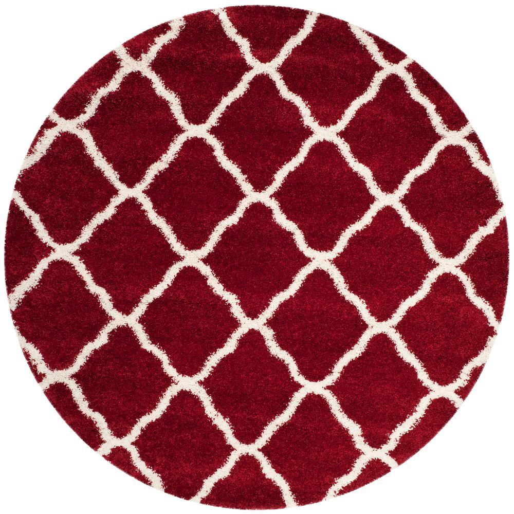 safavieh hudson shag red ivory 7 ft x 7 ft round area rug sgh283r 7r the home depot. Black Bedroom Furniture Sets. Home Design Ideas