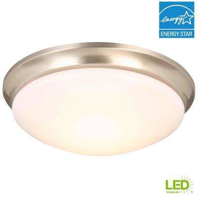 13 in. 360-Watt Equivalent Brushed Nickel Integrated LED Flush Mount with Frosted Glass Shade