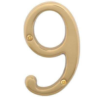 4 in. Bright Brass Classic House Number 9