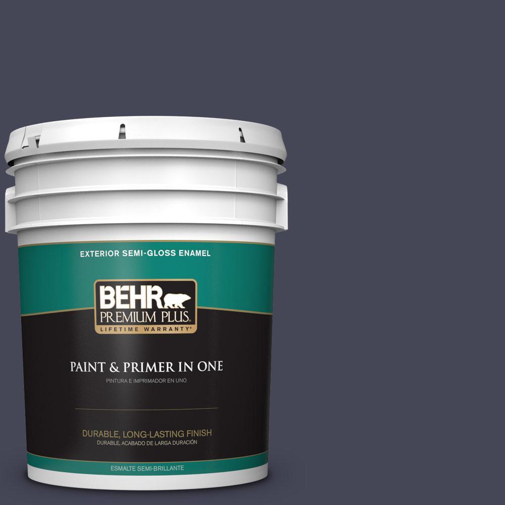 5 gal. #PPU15-19 Black Sapphire Semi-Gloss Enamel Exterior Paint