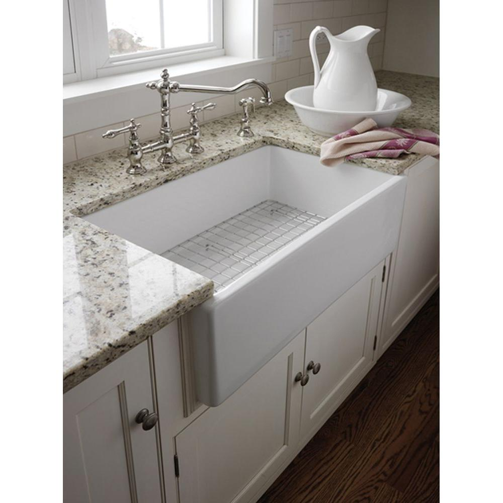 Pegasus Farmhouse Apron Front Fireclay 30 in. Single Bowl Kitchen Sink in  White