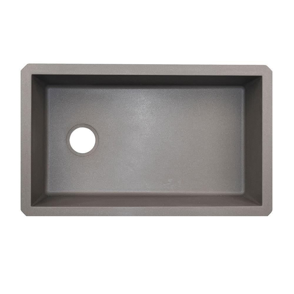 Undermount Granite 32 in. 0-Hole Single Bowl Kitchen Sink in Metallico