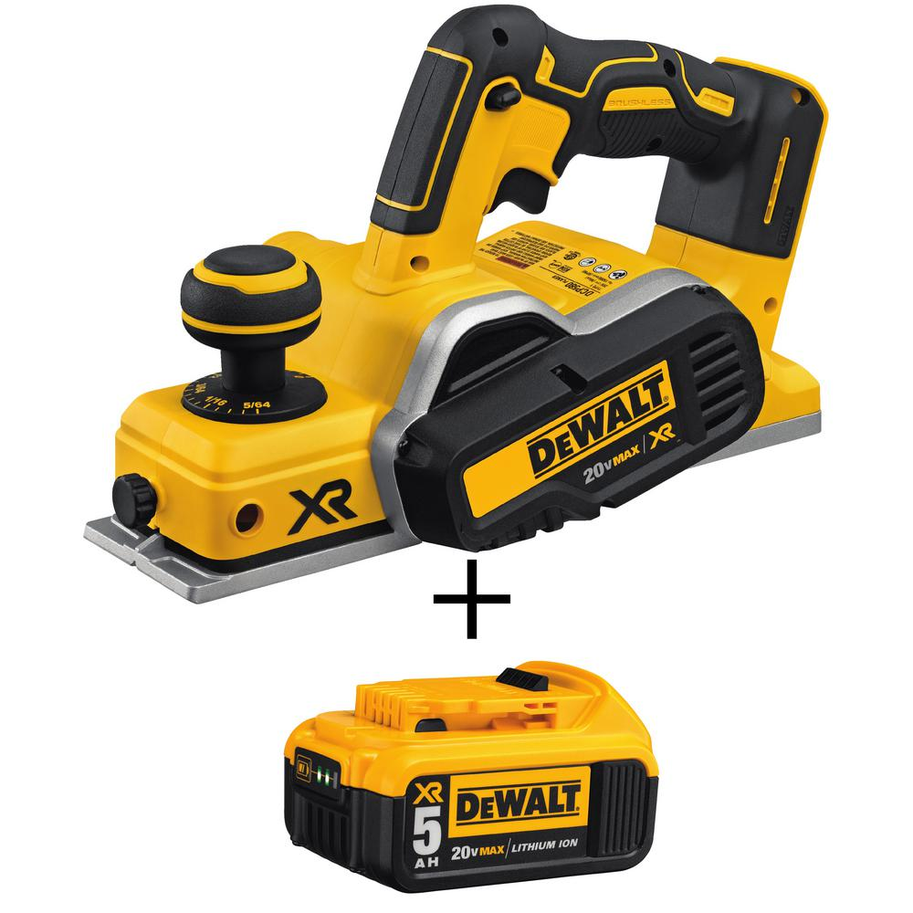 DEWALT 20-Volt MAX XR Lithium-Ion 3-1/4 in. Brushless Cordless Planer (Tool-Only) with Free 20-Volt MAX Li-Ion Battery 5 Ah