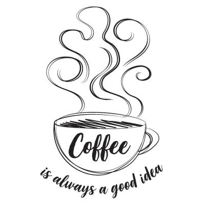 Always Coffee Black Wall Quote Decal