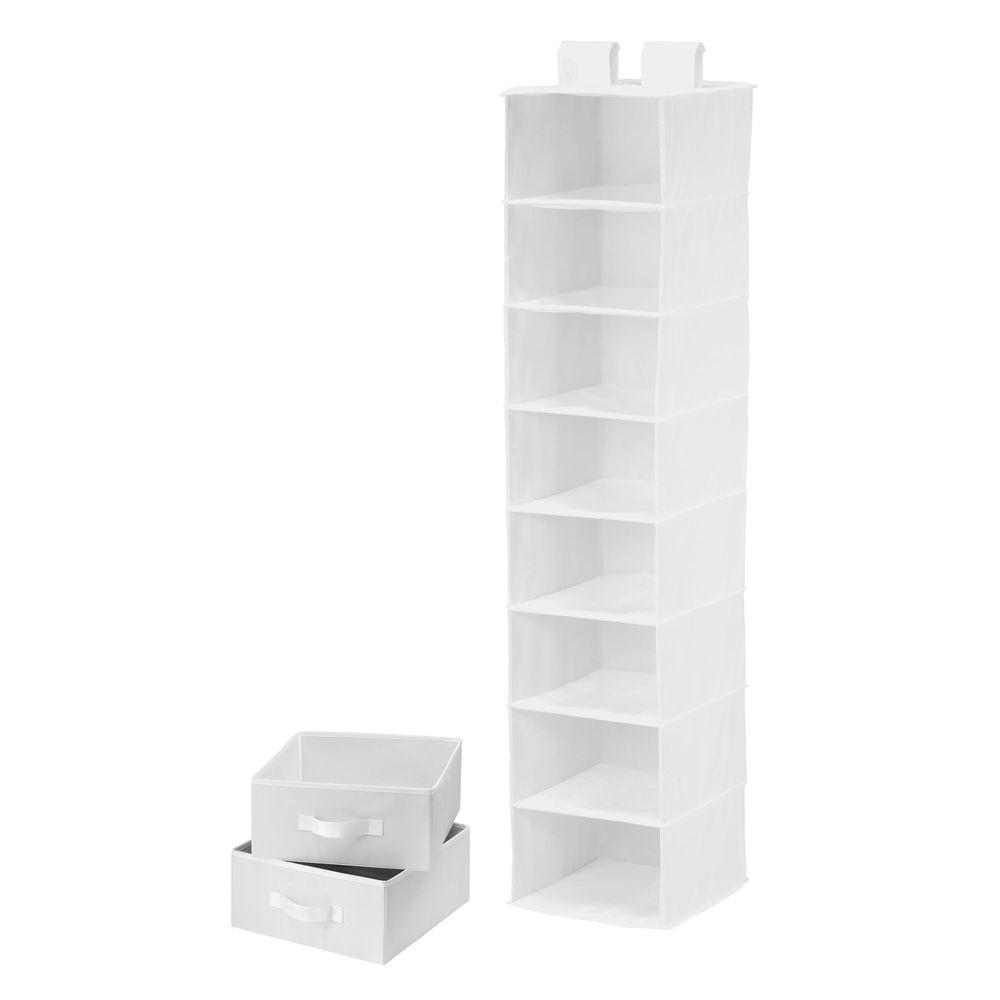 Honey-Can-Do 8-Shelf White Polyester Hanging Organizer with 2 Drawers