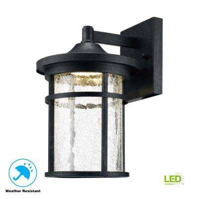 Lovely Aged Iron Outdoor LED Wall Lantern With Crackle Glass ...