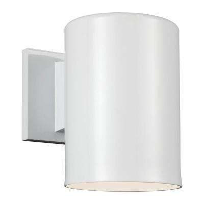 Outdoor Cylinder Collection 1-Light White Outdoor Wall Fixture