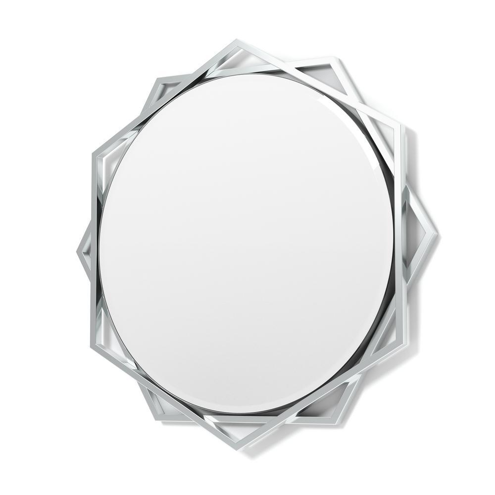 Antoine Round Chrome Decorative Wall Mirror