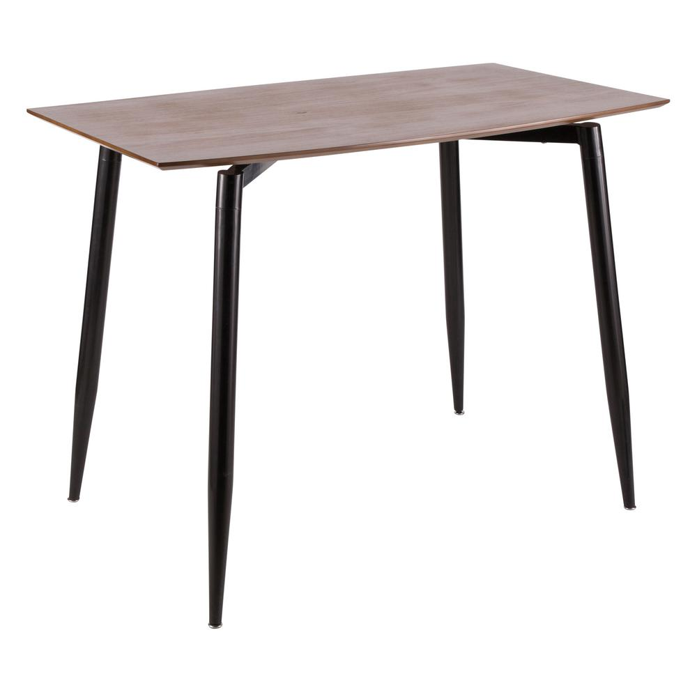 Clara Black Metal And Walnut Wood Rectangular Counter Height Dining Table