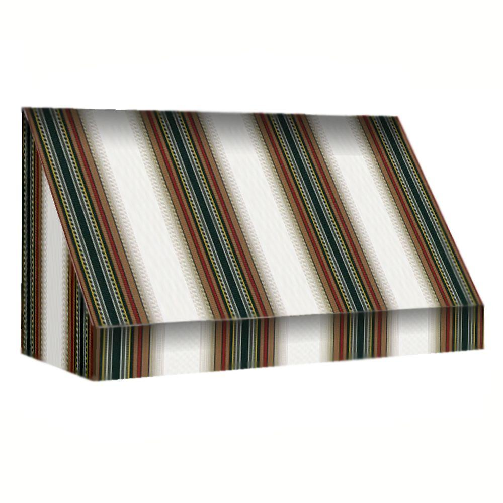 AWNTECH 14 ft. New Yorker Window Awning (44 in. H x 24 in. D) in Burgundy/Forest/Tan Stripe
