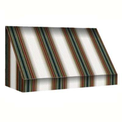 5 ft. New Yorker Window/Entry Awning (56 in. H x 36 in. D) in Burgundy / Forest / Tan Stripe