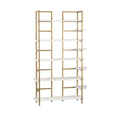 5-Shelf White and Gold Shelving Unit